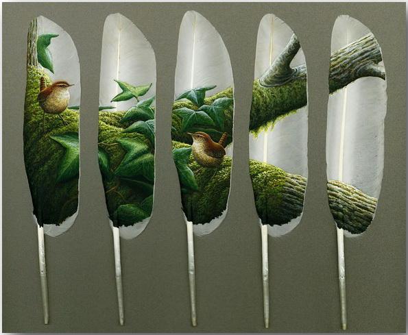 Картины на лебединых перьях. Современная живопись Яна Дэйви (Ian Davie)