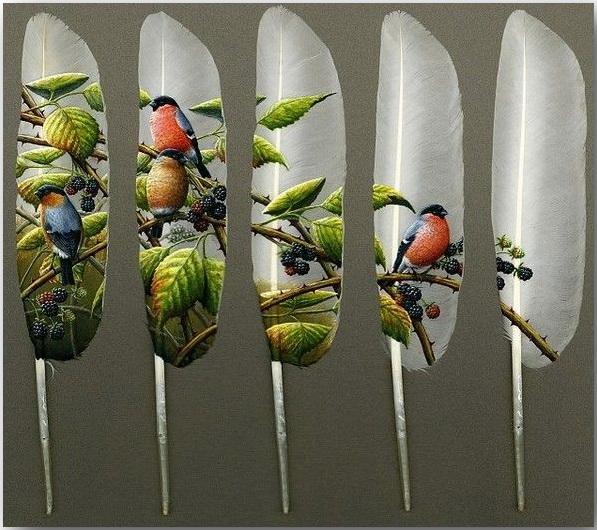 Ян Дэйви (Ian Davie)_Живопись на лебединых перьях_art_03
