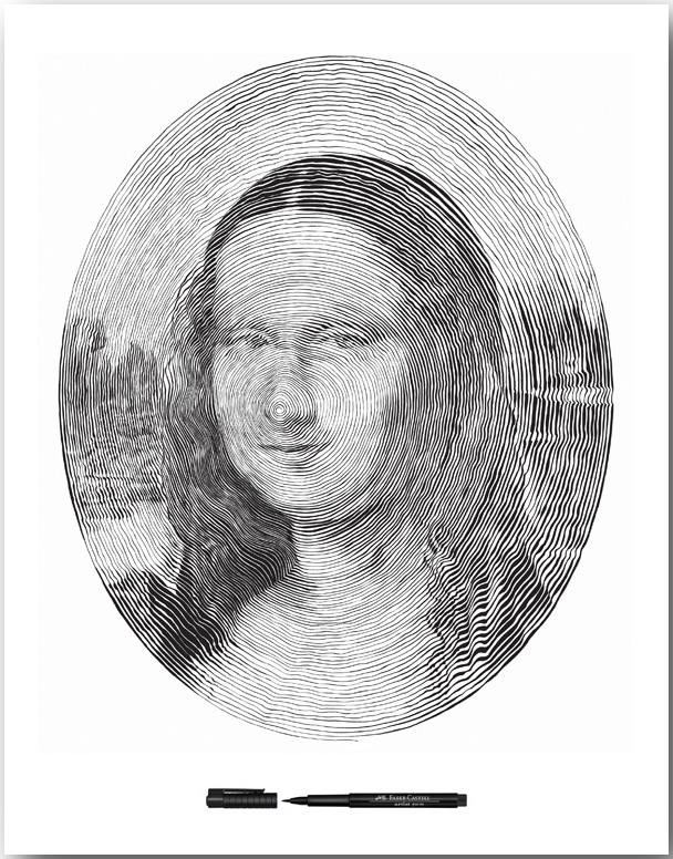 Мона Лиза великого Леонардо Да Винчи_Спиральные иллюстрации Чан Чонг Хви (Chan Hwee Chong)_art_02