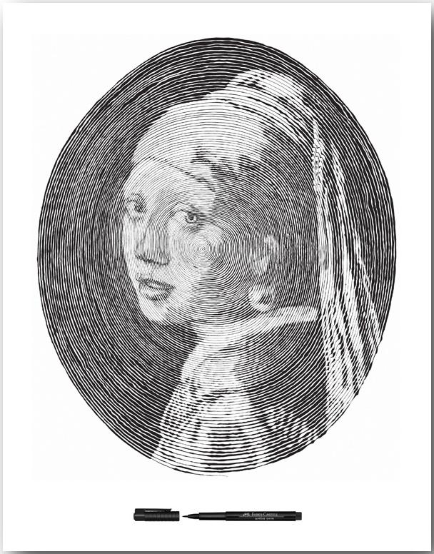 «Девушка с жемчужной серьгой» кисти Йоханнеса Вермеера_Спиральные иллюстрации Чан Чонг Хви (Chan Hwee Chong)_art_04