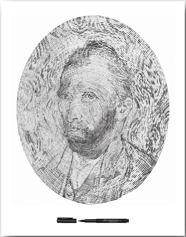 Автопортрет Винсента Ван Гога_Спиральные иллюстрации Чан Чонг Хви (Chan Hwee Chong)_art_06