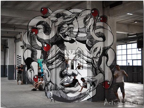 Медуза Гаргона: граффити-иллюзия от студии Truly Design_art_01