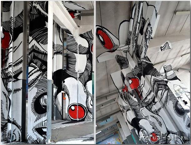 Медуза Гаргона: граффити-иллюзия от студии Truly Design_art_04