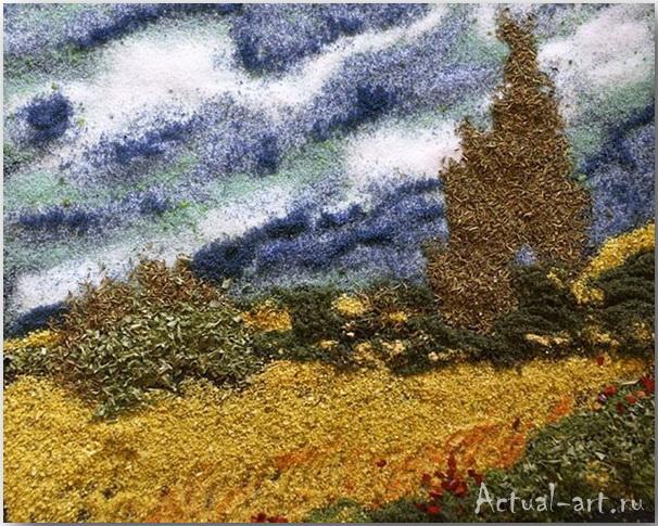 "Spice of Life ""Wheatfield and Cypress Trees""_Келли МакКоллам (Kelly McCollam)_Картины из специй_03"