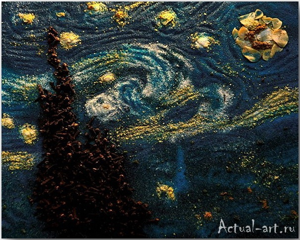 "Spice of Life ""Starry Night""_Келли МакКоллам (Kelly McCollam)_Картины из специй_04"