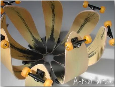 Цветок из скейтбордических досок_Ted Hunter